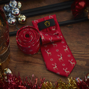 Men's Ties & Handkerchiefs Red Reindeer Men's Necktie Set - Suit Monkey UK