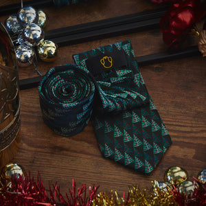 Men's Ties & Handkerchiefs Black & Green Christmas Trees Men's Necktie Set - Suit Monkey UK