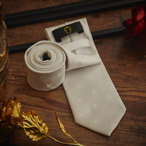 Men's Ties & Handkerchiefs White Patterned Men's Necktie Set - Suit Monkey UK