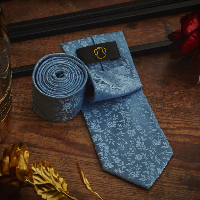 Men's Ties & Handkerchiefs Blue Floral Men's Necktie Set - Suit Monkey UK