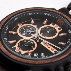 Quartz Watches Bobo Bird Men's Rose Gold & Black Watch - Suit Monkey UK