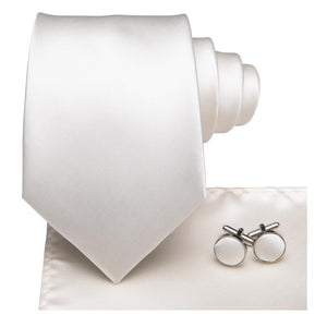 Men's Ties & Handkerchiefs Simple White Men's Necktie Set - Suit Monkey UK