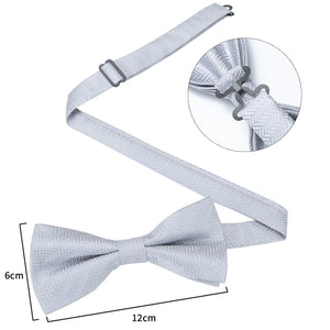 Men's Ties & Handkerchiefs Silver Maze Men's Bow Tie Set - Suit Monkey UK