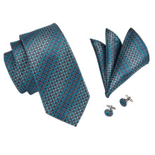 Load image into Gallery viewer, Metallic Shades of Blue Men's Necktie Set - Suit Monkey UK