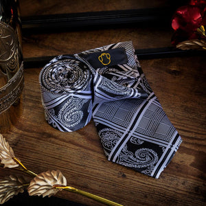 Men's Ties & Handkerchiefs Black & White Men's Paisley Tartan Necktie Set - Suit Monkey UK