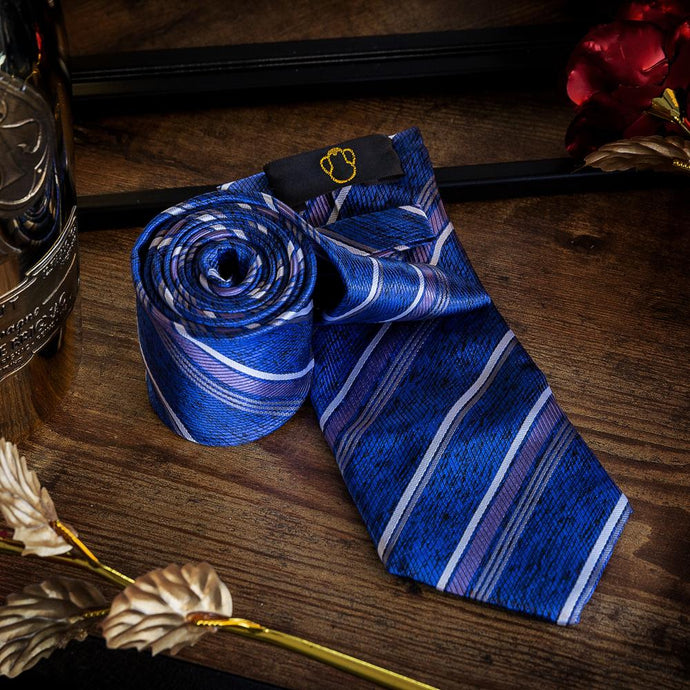 Men's Ties & Handkerchiefs Blue & Purple Men's Striped Necktie Set - Suit Monkey UK