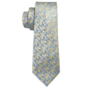 Men's Ties & Handkerchiefs Yellow & Blue Men's Floral Necktie Set - Suit Monkey UK