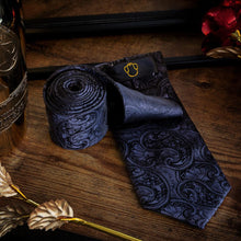 Load image into Gallery viewer, Fashion Accessories Black Mandala Men's Necktie Set - Suit Monkey UK