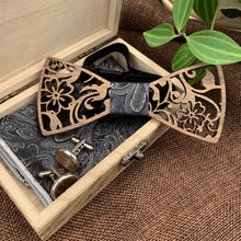 Load image into Gallery viewer, Black Paisley Wooden Bow Tie Set Fashion Accessories Suit Monkey UK