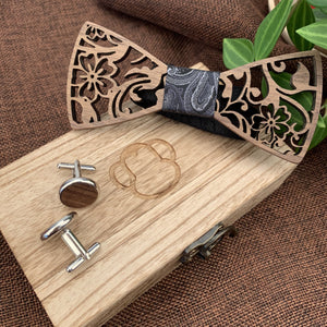 Black Paisley Wooden Bow Tie Set Fashion Accessories Suit Monkey UK