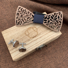 Load image into Gallery viewer, Black Stripe Wooden Bow Tie Set Fashion Accessories Suit Monkey UK