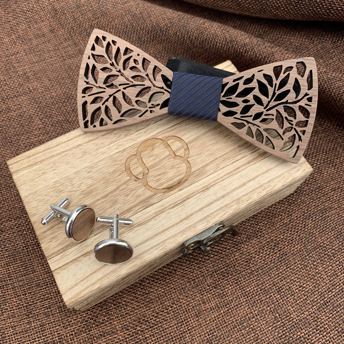 Fashion Accessories Black Stripe Wooden Bow Tie Set - Suit Monkey UK
