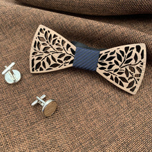 Load image into Gallery viewer, Fashion Accessories Black Stripe Wooden Bow Tie Set - Suit Monkey UK