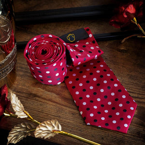 Black & White Dots on Red Men's Necktie Set Fashion Accessories Free Shipping!