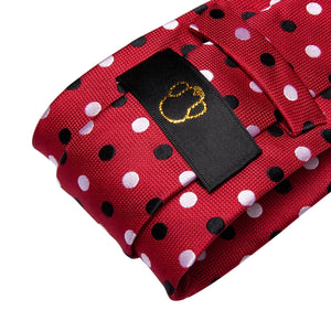 Black & White Dots on Red Men's Necktie Set Fashion Accessories Hi-Tie Official Store