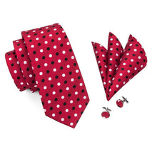 Load image into Gallery viewer, Fashion Accessories Black & White Dots on Red Men's Necktie Set - Suit Monkey UK
