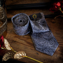 Load image into Gallery viewer, Black & White Men's Paisley Necktie Set Fashion Accessories Free Shipping!