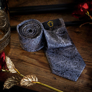 Fashion Accessories Black & White Men's Paisley Necktie Set - Suit Monkey UK