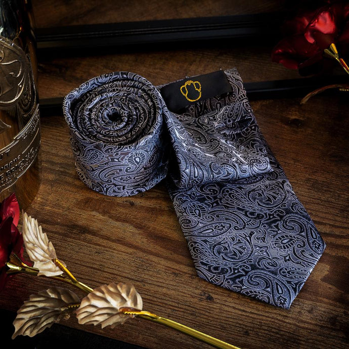 Black & White Men's Paisley Necktie Set Fashion Accessories Free Shipping!