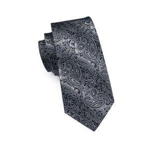 Black & White Men's Paisley Necktie Set Fashion Accessories Hi-Tie Official Store