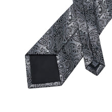 Load image into Gallery viewer, Fashion Accessories Black & White Men's Paisley Necktie Set - Suit Monkey UK