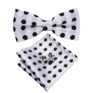 Fashion Accessories Black & White Polka Dots Men's Bow Tie Set - Suit Monkey UK