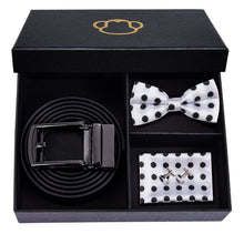 Load image into Gallery viewer, Black & White Polka Dots Men's Bow Tie Set Fashion Accessories Hi-Tie Official Store