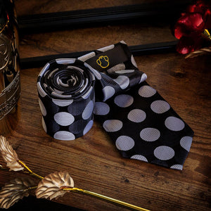 Black & White Polka Dots Men's Necktie Set Fashion Accessories Free Shipping!