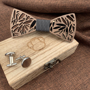 Black & White Wooden Bow Tie Set Fashion Accessories Suit Monkey UK