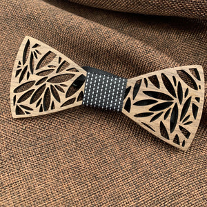 Black & White Wooden Bow Tie Set Fashion Accessories Suit Monkey UK Black Leaves