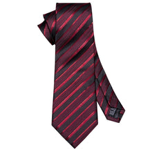 Load image into Gallery viewer, Blood Red Striped Men's Necktie Set Fashion Accessories Barry.Wang VIP Store