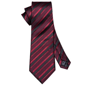 Blood Red Striped Men's Necktie Set Fashion Accessories Barry.Wang VIP Store