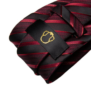 Fashion Accessories Blood Red Striped Men's Necktie Set - Suit Monkey UK