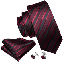 Load image into Gallery viewer, Fashion Accessories Blood Red Striped Men's Necktie Set - Suit Monkey UK