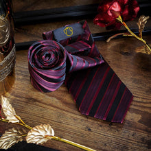 Load image into Gallery viewer, Blood Red Striped Men's Necktie Set Fashion Accessories Free Shipping!