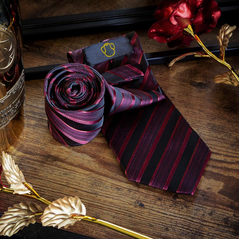 Blood Red Striped Men's Necktie Set Fashion Accessories Free Shipping!