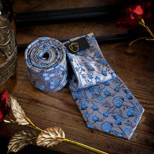 Load image into Gallery viewer, Blue Blossoms Men's Necktie Set Fashion Accessories Free Shipping!