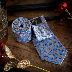 Blue Blossoms Men's Necktie Set Fashion Accessories Free Shipping!