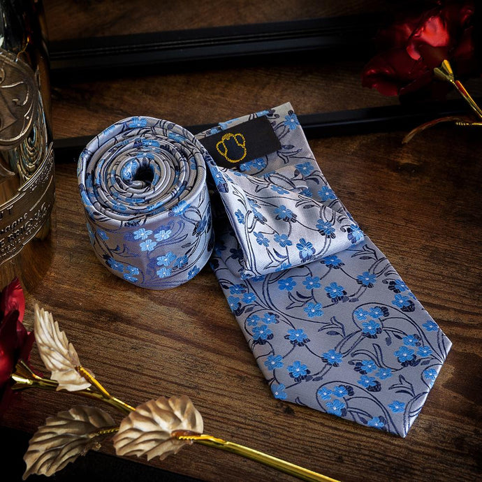 Fashion Accessories Blue Blossoms Men's Necktie Set - Suit Monkey UK