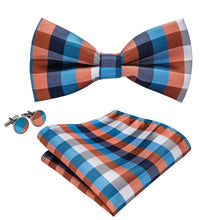 Load image into Gallery viewer, Blue & Brown Men's Bow Tie Set Men's Ties & Handkerchiefs Barry.Wang Official Store