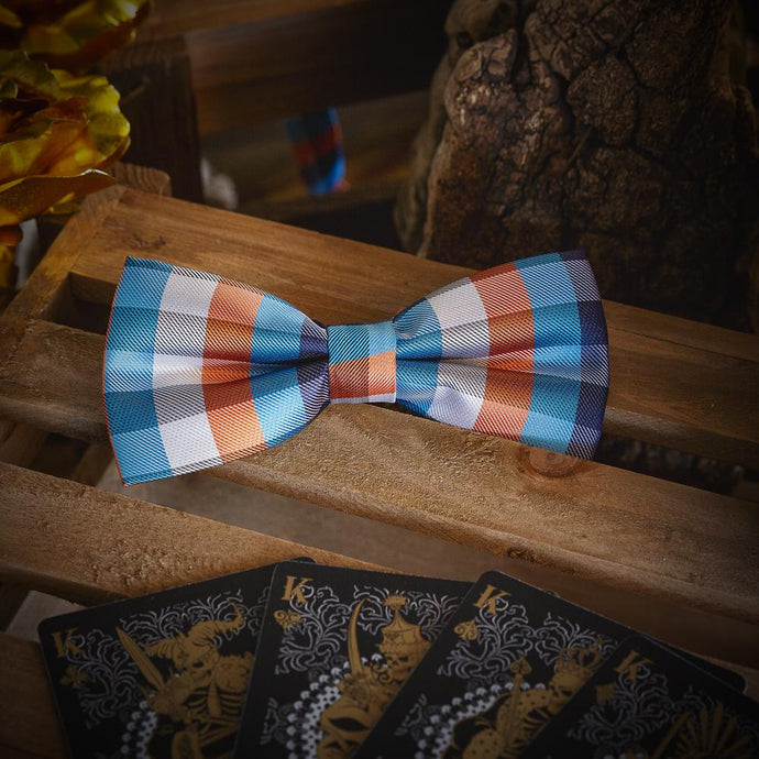 Blue & Brown Men's Bow Tie Set Men's Ties & Handkerchiefs Free Shipping!