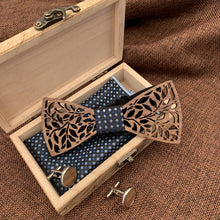 Load image into Gallery viewer, Blue Diamond Wooden Bow Tie Set Fashion Accessories Suit Monkey UK