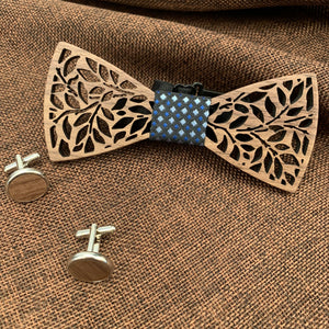 Blue Diamond Wooden Bow Tie Set Fashion Accessories Suit Monkey UK