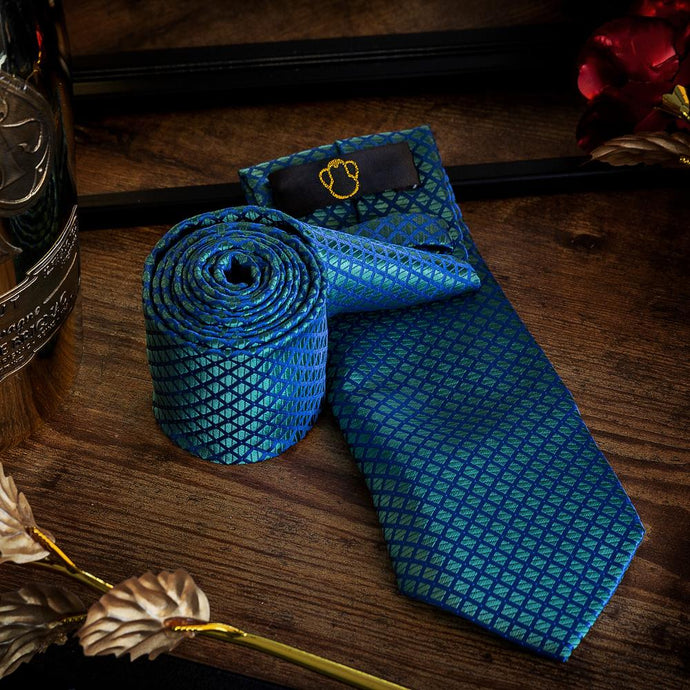 Fashion Accessories Blue Green Diamonds Men's Necktie Set - Suit Monkey UK