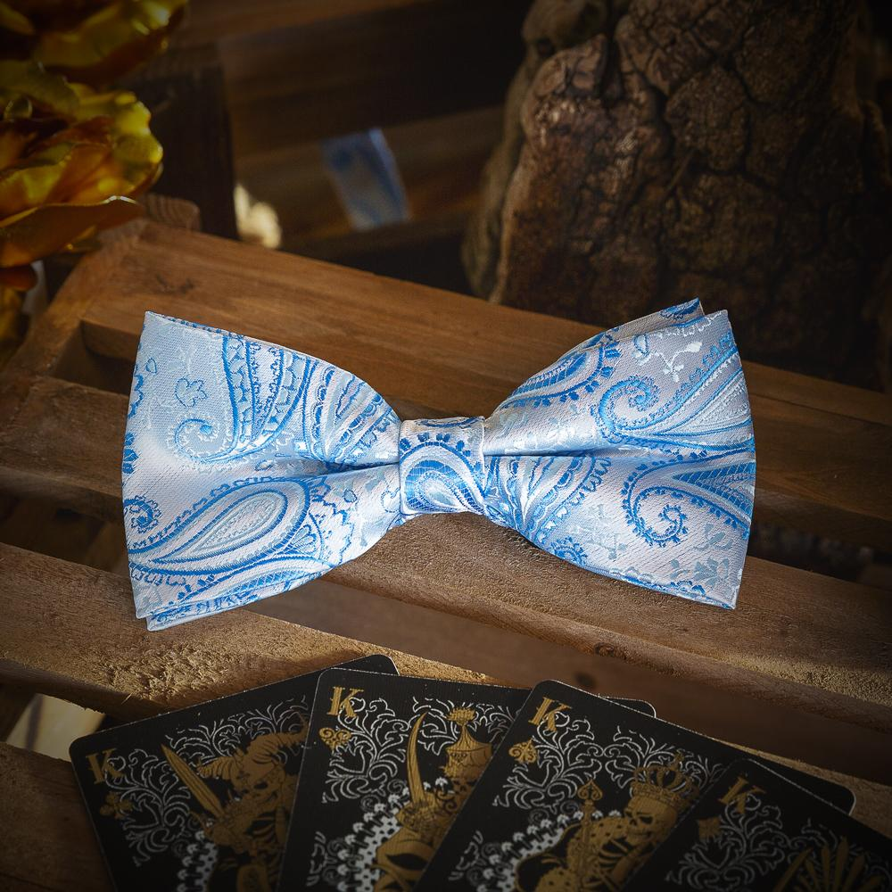 Blue Paisley Men's Bow Tie Set Fashion Accessories Free Shipping!