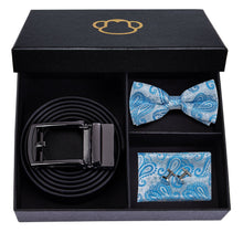 Load image into Gallery viewer, Blue Paisley Men's Bow Tie Set Fashion Accessories Hi-Tie Official Store