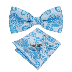 Blue Paisley Men's Bow Tie Set Fashion Accessories Hi-Tie Official Store