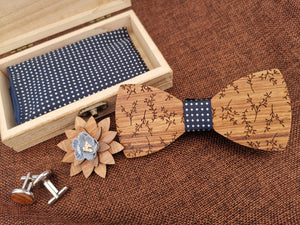 Blue Patterned Wooden Bow Tie Set Fashion Accessories Suit Monkey UK