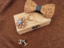 Load image into Gallery viewer, Blue Patterned Wooden Bow Tie Set Fashion Accessories Suit Monkey UK