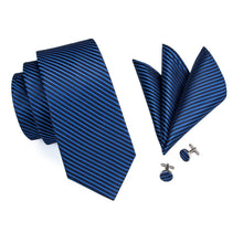 Load image into Gallery viewer, Blue Stripes Men's Necktie Set Fashion Accessories Hi-Tie Official Store